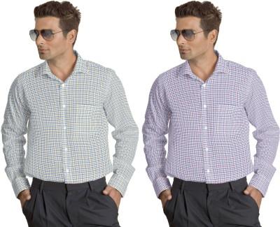 Willmohr Men's Checkered Formal Yellow, Pink Shirt