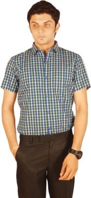 Kriss Men's Checkered Casual Blue, Yellow Shirt