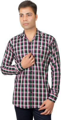 Phashion Town Men's Checkered Casual Pink Shirt