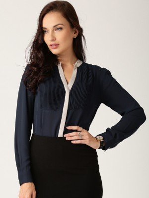 All About You Women's Solid Casual Dark Blue Shirt