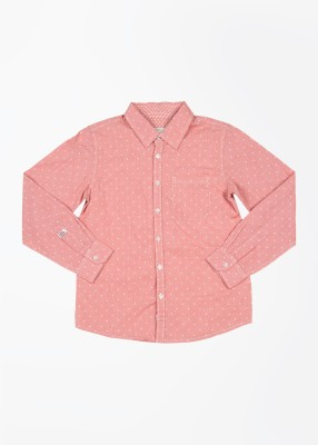 Pepe Jeans Boy's Printed Casual Pink Shirt