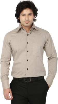 Side Effects Men's Solid Formal Beige Shirt