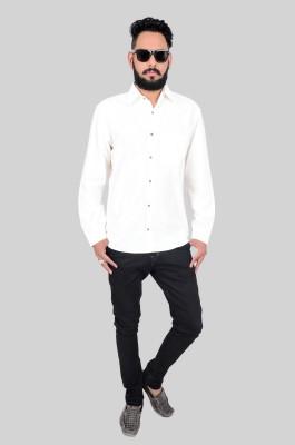 Maandna Men's Solid Casual White Shirt