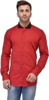 Pickurs Formal Shirts (Men's) - Pickurs Men's Solid Formal Red, Black Shirt