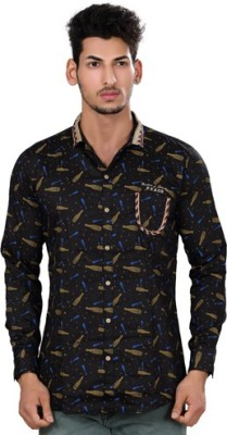 Fisheye Men's Printed Casual Black Shirt