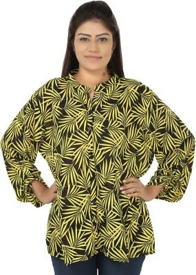 Chic Fashion Women's Printed Formal Yellow, Black Shirt