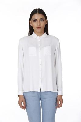 Baba Rancho Women's Solid Formal White Shirt