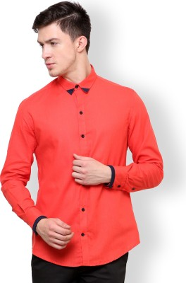 Blackbuk India Men's Solid Casual Pink Shirt