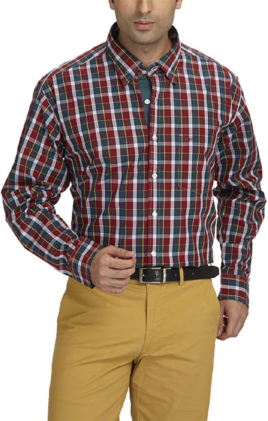 ColorPlus Mens Checkered Casual Red Shirt