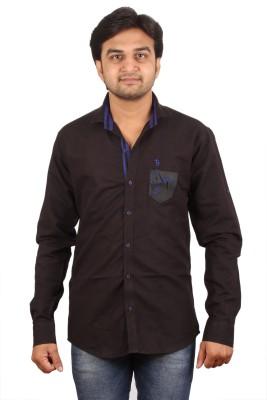 Black Pepper Men's Solid Party Black Shirt