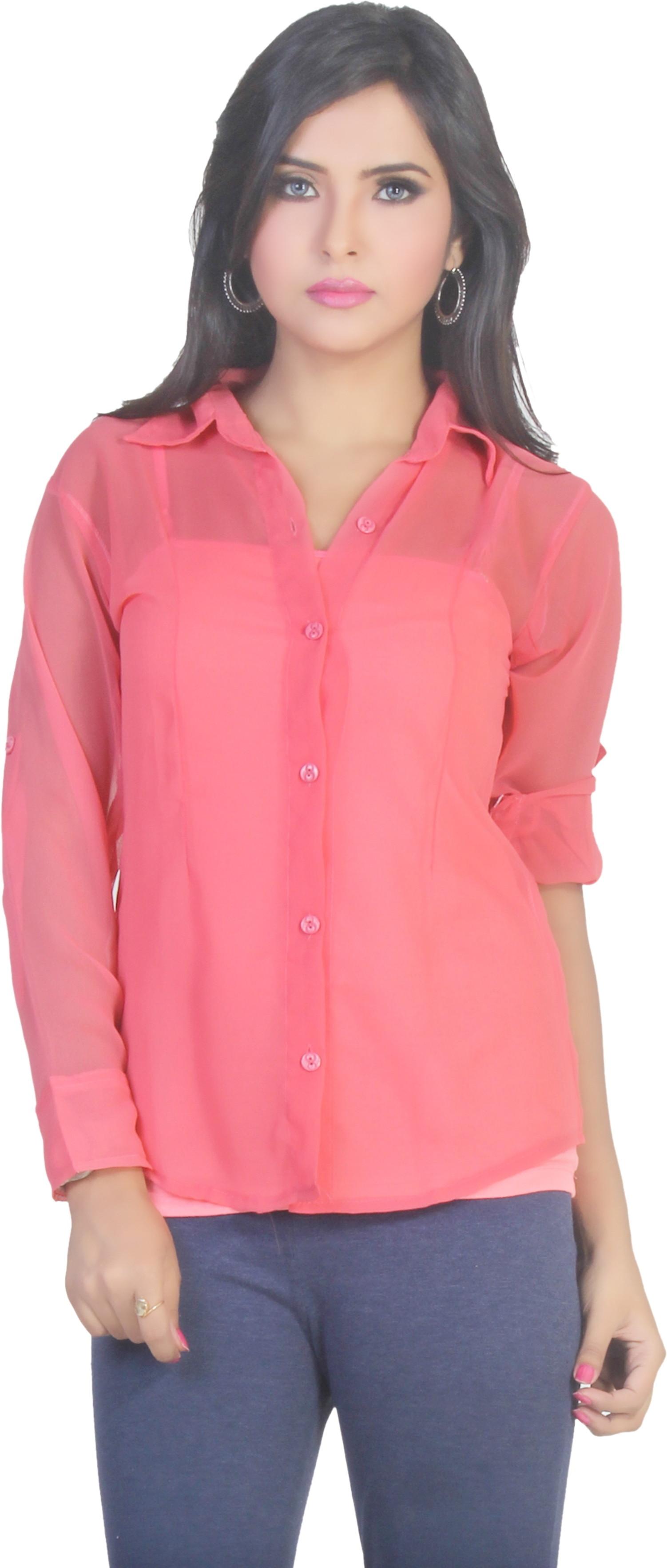 Ten on Ten Womens Solid Casual Pink Shirt