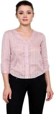 At By Taruna Women's Striped Casual Purple Shirt