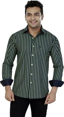 Jazzup Men's Striped Casual Green Shirt