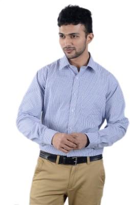 Cody Men's Striped Formal White, Dark Blue Shirt