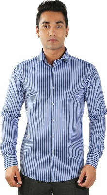 Just Differ Men's Striped Formal Blue Shirt