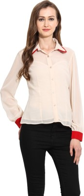 MSMB Women's Solid Casual Beige Shirt