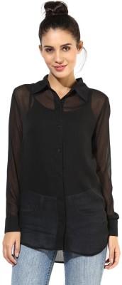 T-shirt Company Women's Solid Party Black Shirt