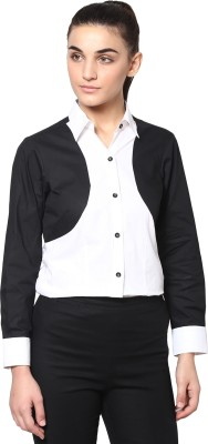 Dazzio Womens Solid Formal Black, White Shirt