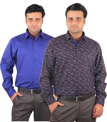RIPARV Men's Solid, Printed Formal Blue Shirt