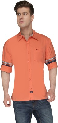 Again? Vintage Men's Solid Casual Orange Shirt