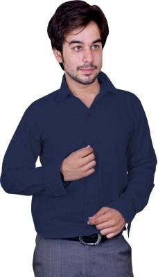 Mc-John Men's Solid Casual Blue Shirt