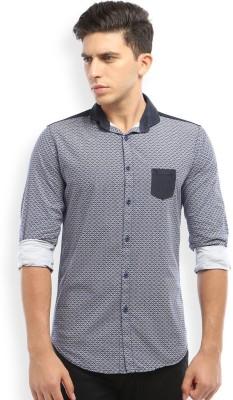 Skie Studio Men's Printed Casual Blue Shirt