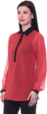 Dinero Women's Solid Casual Reversible Red Shirt