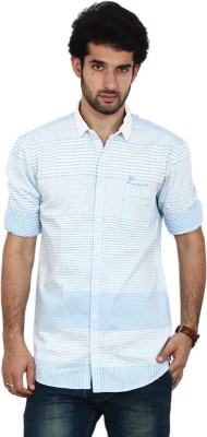 FRD13 Men's Checkered Casual Blue Shirt