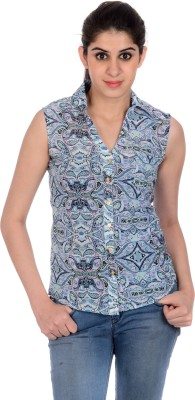 House of Tantrums Women's Printed Casual Blue Shirt
