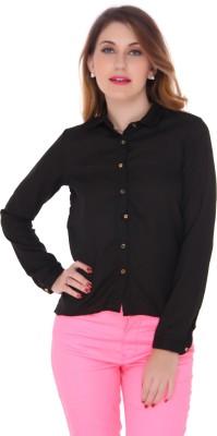 Bedazzle Women's Solid Party Black Shirt