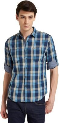 Flying Machine Men's Checkered Casual Blue, Grey Shirt