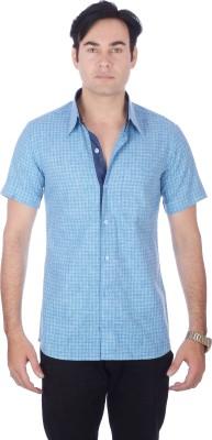 Darzii Men's Checkered Casual Linen Light Blue, Dark Blue Shirt