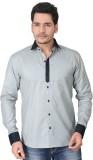 Brinley Men's Solid Casual Grey Shirt