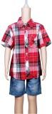Chutti Pluss Boys Checkered Casual Red S...
