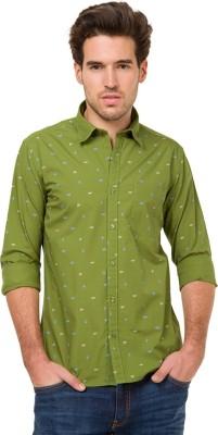 Mode Manor Men's Printed Casual Green Shirt