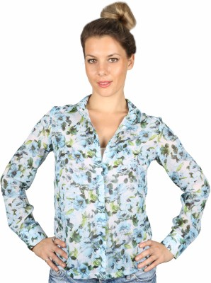 IRACC Women's Printed Casual Blue Shirt