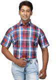 Relish Men's Checkered Formal Blue Shirt