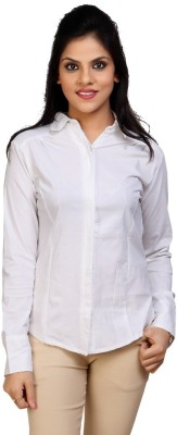 Carrel Women's Solid Formal, Casual White Shirt