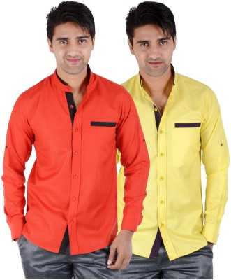 S9 Men's Solid Casual Red, Yellow Shirt