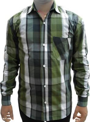 purnima Men's Checkered Casual White, Green Shirt