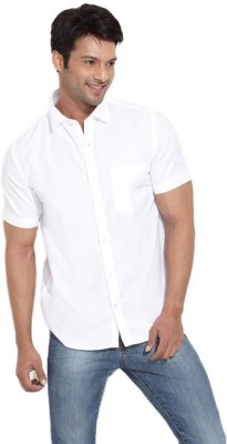 Pixo Men's Solid Casual White Shirt