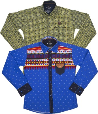 G-apple Boy's Printed Casual Blue, Yellow Shirt
