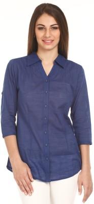 Mustard Women's Solid Casual Blue Shirt