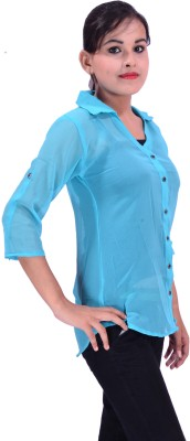 Krazzy Collection Women,s Solid Casual Light Blue Shirt