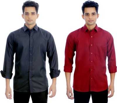 Atmosphere Men's Solid Formal Black, Maroon Shirt