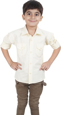 Ice Blue Boy's Solid Casual White Shirt