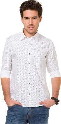 Mode Manor Men's Printed Casual White Shirt
