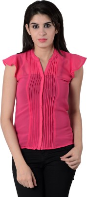 House of Tantrums Women's Solid Casual Pink Shirt