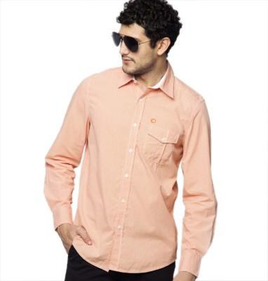 American Swan Men's Solid Casual Orange Shirt