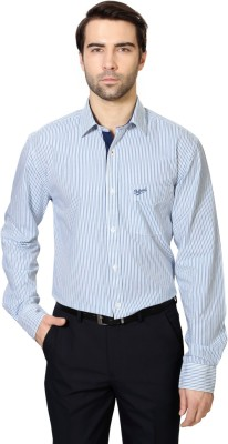 University of Oxford Men's Striped Casual Blue Shirt